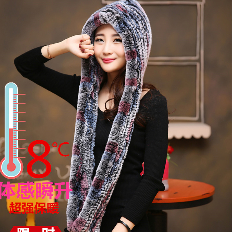 Rex hair thicker knit hat scarf one woman winter hat rabbit fur scarves dual female winter hat piece design