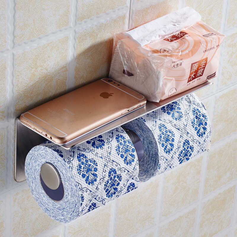 Ze stali nierdzewnej luksusowe toaleta wc uchwyt na papier łazienka półki 2 uchwyt na papier z telefonu komórkowego regał do przechowywania z półkami