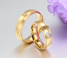 Recommend Top Quality Titanium Gold Color Rings For Women Men Charm Couple Wedding Engagement Jewelry