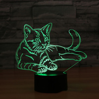 Cat 3D Night Light Animal Changeable Mood Lamp LED 7 Colors USB 3D Illusion Table Lamp For Home Decorative As Kids Toy Gift 3