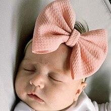 Бантик большого размера с нейлоновой повязкой на голову для новорожденных, Мягкая повязка на голову телесного цвета, повязка на голову с бантиками для маленьких девочек, повязка на голову для малышей