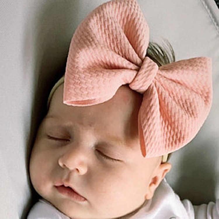 יילוד קשת גדולה עם ניילון סרט רך עירום גומייה לשיער מבולגנים קשתות תינוקות תינוקת סרטי ראש bebes טורבן תינוק Haarbandjes