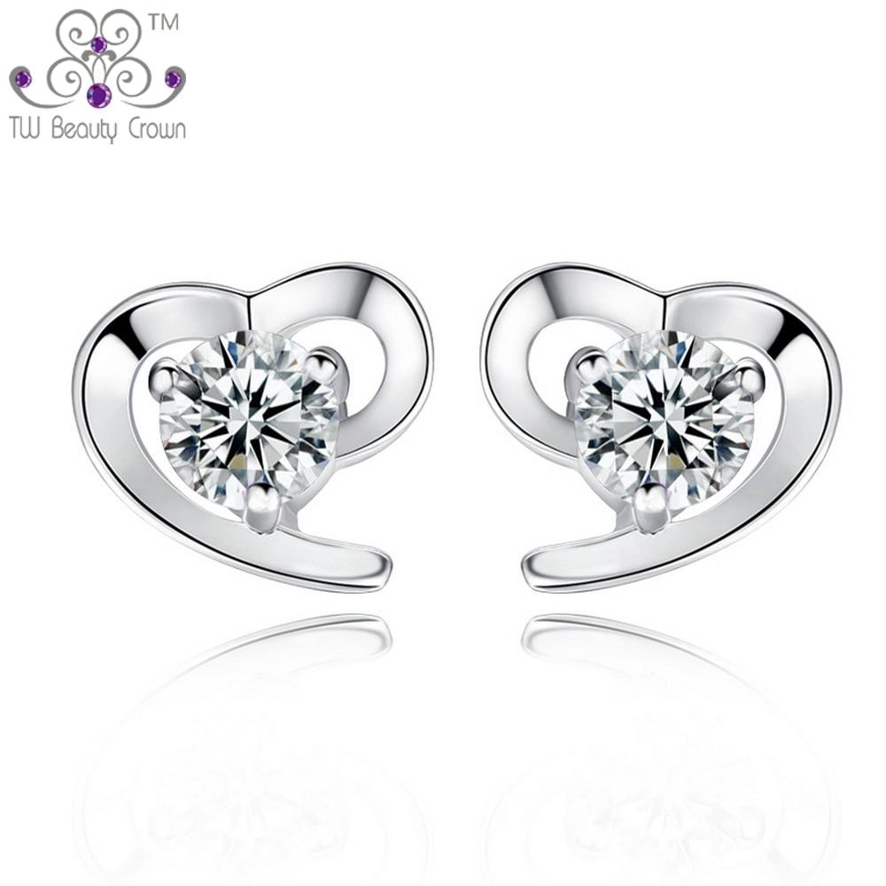 Real 925 Pure Silver Simulated Diamond Elegant Lov