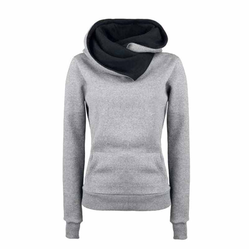 Kobiety bluzy z kapturem Plus rozmiar Gothic z długim rękawem Top Casual czarna bluza z kapturem kieszeni jesień zima cienkie proste moda dres