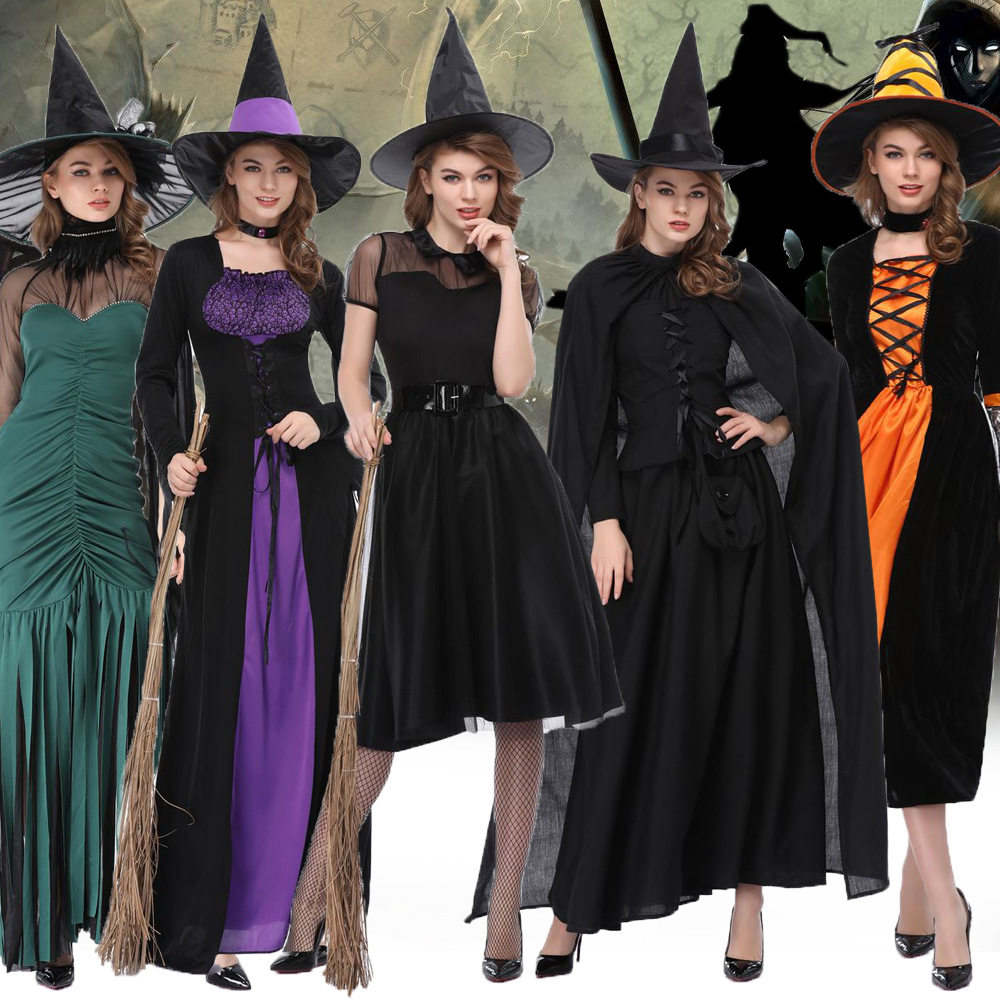 More Type Women Flying witch Costume Girl witch Dress Adult Cobweb Spider Cosplay Costumes for Carnival Halloween Fancy Dress