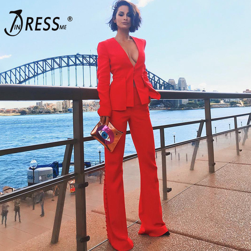 INDRESSME 2019 Fashion V Neck Sexy Business Pant Suits Set Blazers Formal Women OL Elegant Skinny Cut Out Black Backless-in Women's Sets from Women's Clothing    1