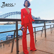 1a3bb20eea INDRESSME 2019 Fashion V-Neck Sexy Business Pant Suits Set Blazers Formal  Women OL Elegant Skinny Cut Out Black Backless