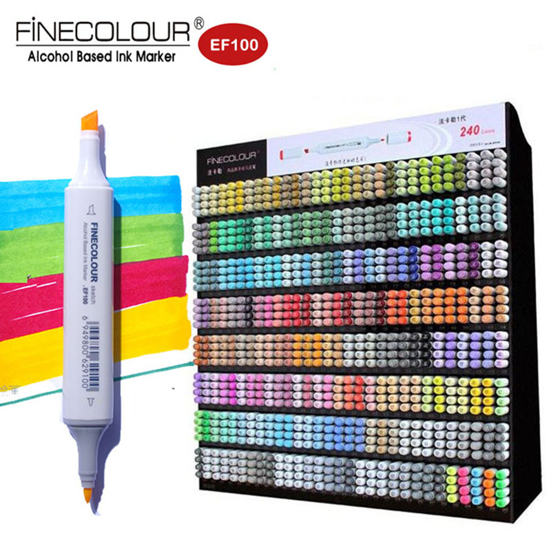 Finecolour 240 Colors Dual Tip Pen Art Markers Set EF100 Primary Twin Graphic Sketch Manga felt Pen Alcohol Marker for drawing цена 2017