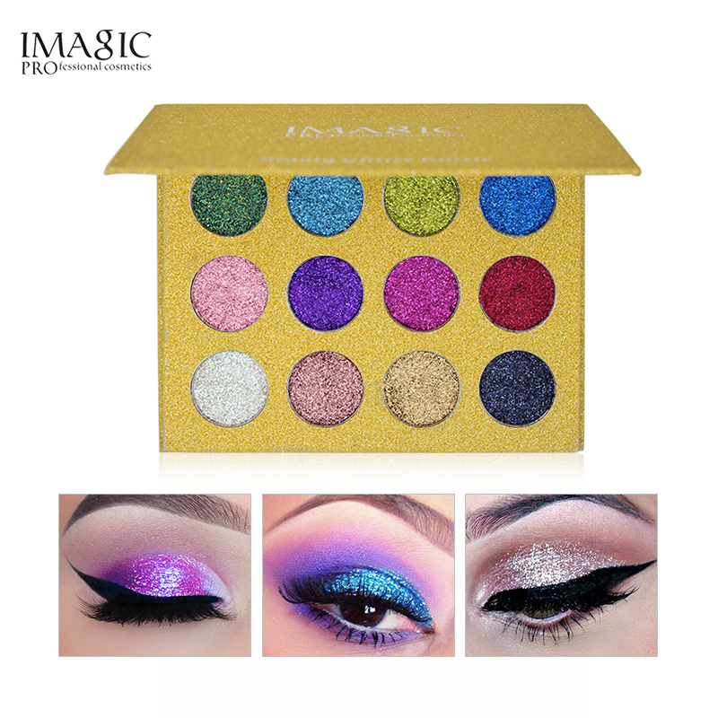 IMAGIC Eyeshadow 12 Colors Palette Glitter Pressed