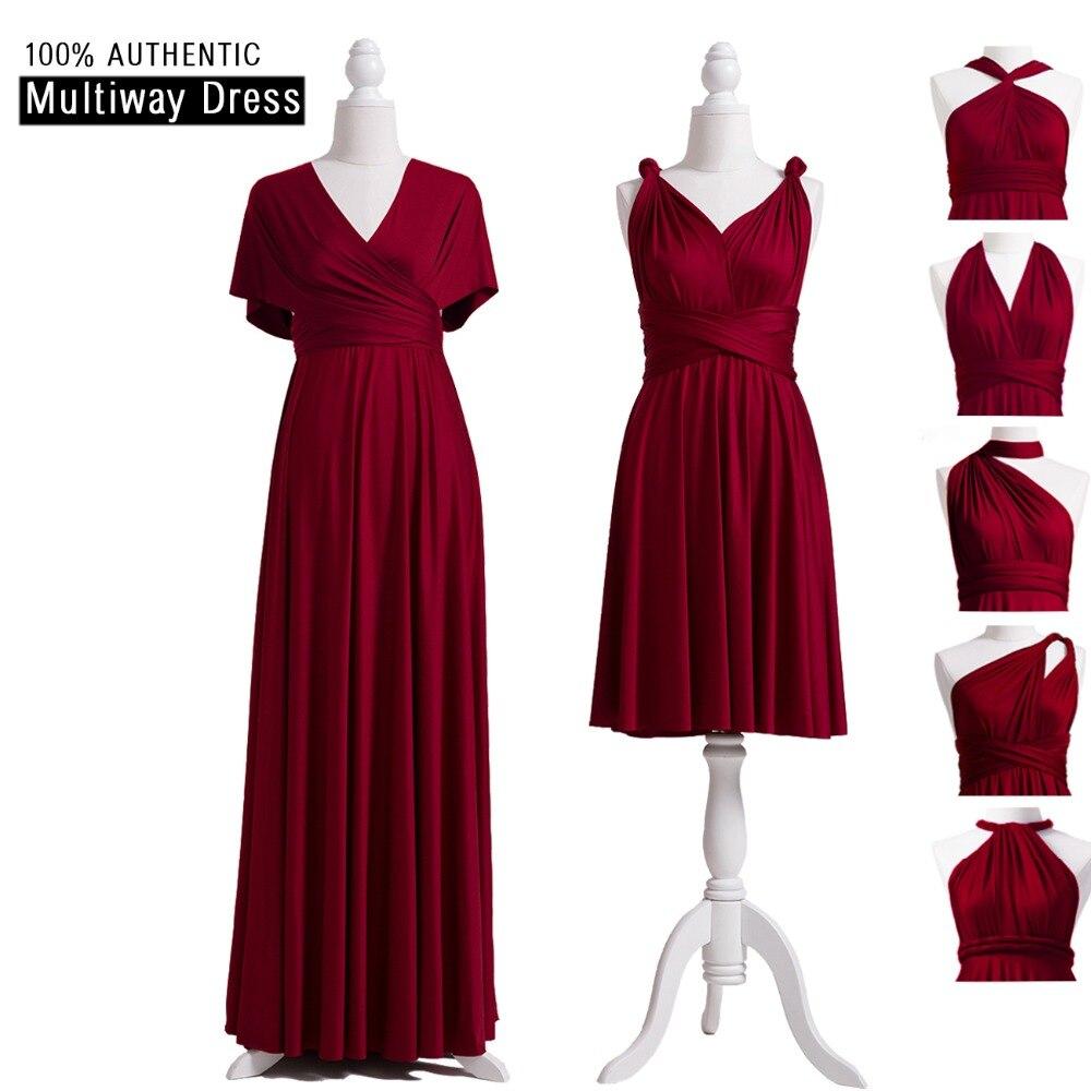Bourgogne Robes de mariée Multivoies Robe Infinity Longue Robe Bourgogne Convertible Wrap Robe Avec Manches Style