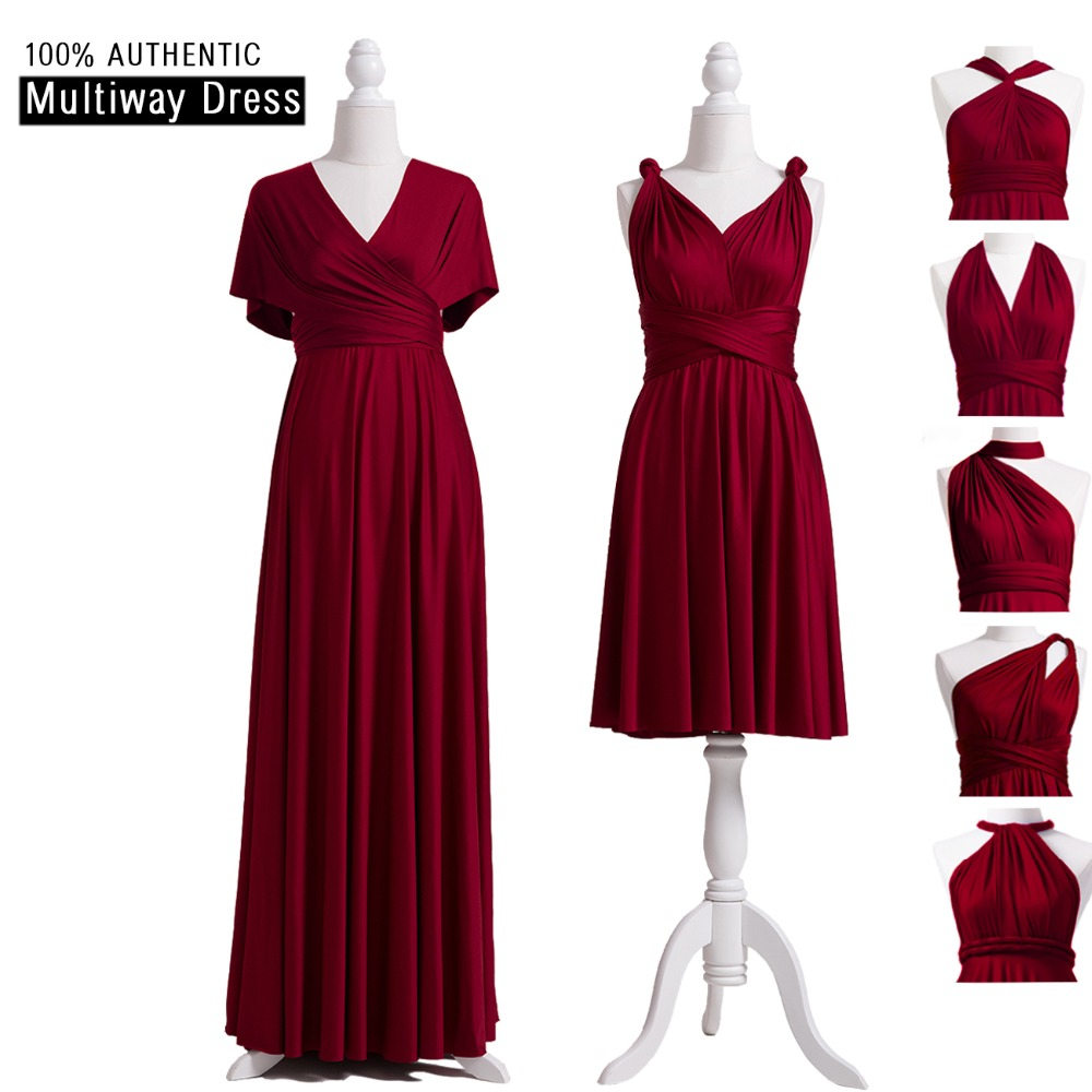 Burgundy Bridesmaid Dresses Multiway Dress Infinity Long Dress Burgundy Convertible Wrap Dress With Sleeves Style