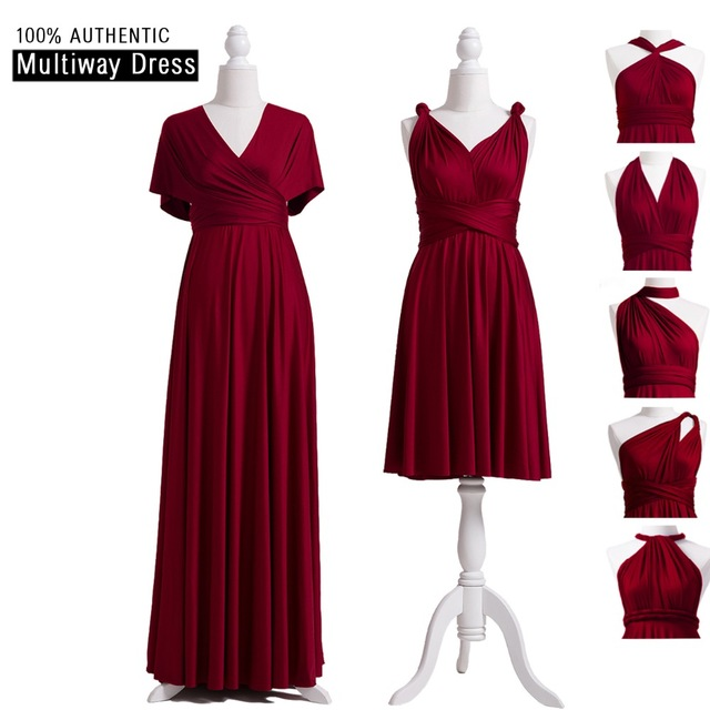 6c7c41cc4b426 Burgundy Bridesmaid Dresses Multiway Dress Infinity Long Dress Burgundy Convertible  Wrap Dress With Sleeves Style