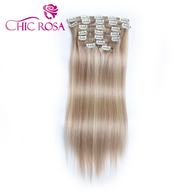 Chic Rosa Clip In Hair Piano Color 22 Inch 110g Human Hair Extension