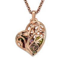Wholesale Customized Unique Heart Cage Family Tree Necklace with Birthstones Personalized Women Jewelry Rose Gold Color