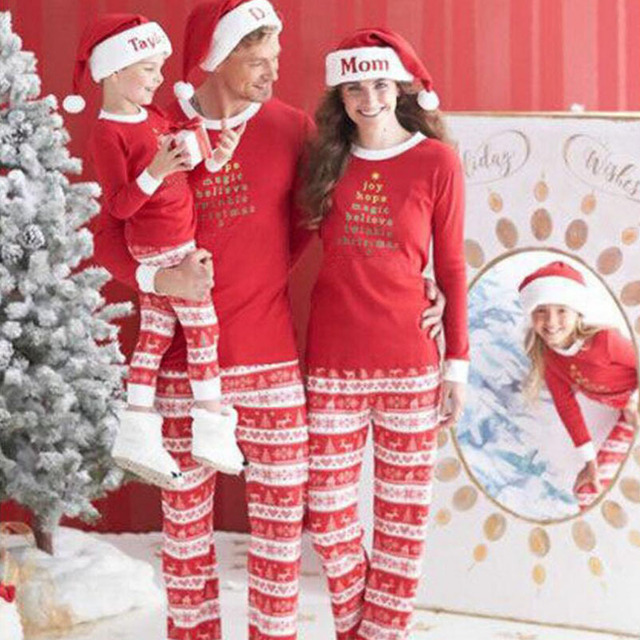e67e6d9f34 Christmas Family Clothing New Year 2019 Matching Family clothes Sets  Pajamas Mother Daughter Father Son Mom