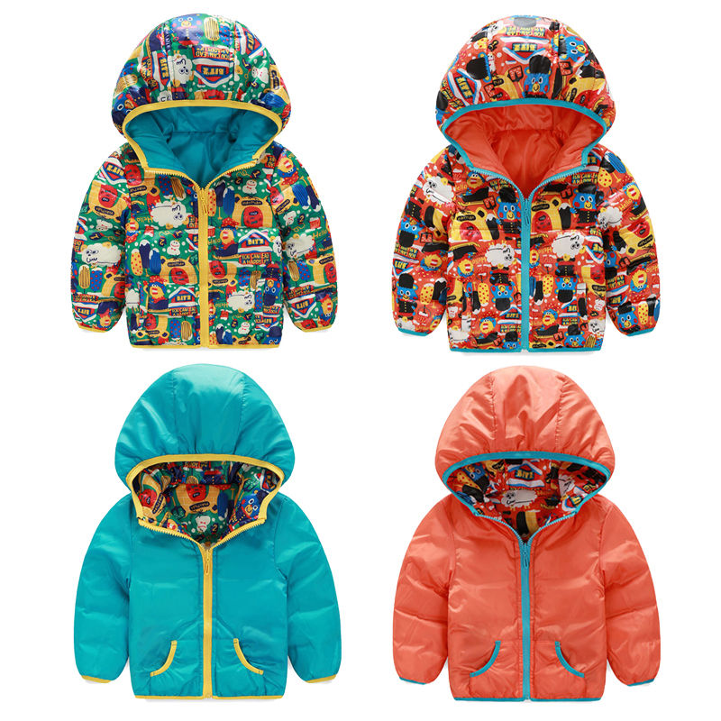 df696b0642a9 Kids Boys Padded Coats Infants Hooded Cartoon Winter Warm Down ...