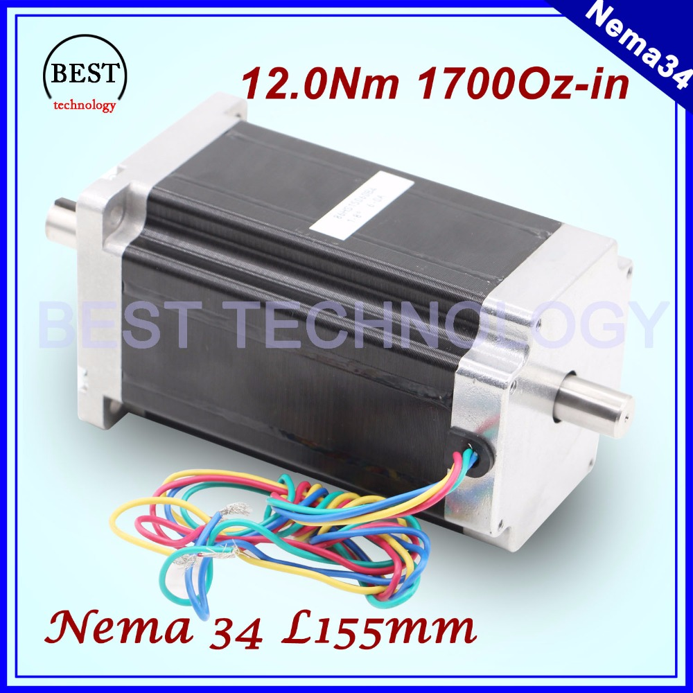 цена на NEMA 34 CNC stepper motor 86X150mm double shaft 12 N.m 6A cnc stepping motor 1700Oz-in for CNC engraving machine 3D printer!