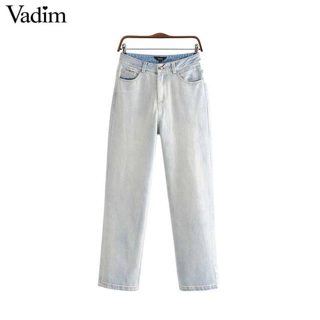 Vadim נשים אופנתי מוצק ג 'ינס ארוך כפתור רוכסן לטוס כיסים ישר מזדמן נקבה מקרית bottoms מכנסיים mujer KA983