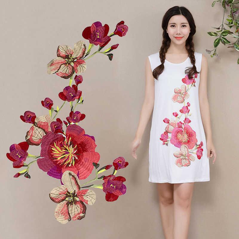 Nuevo Collar de flor de ciruelo coser en parche aplique insignia vestido de encaje bordado vestido cheongsam decoración DIY Accesorios