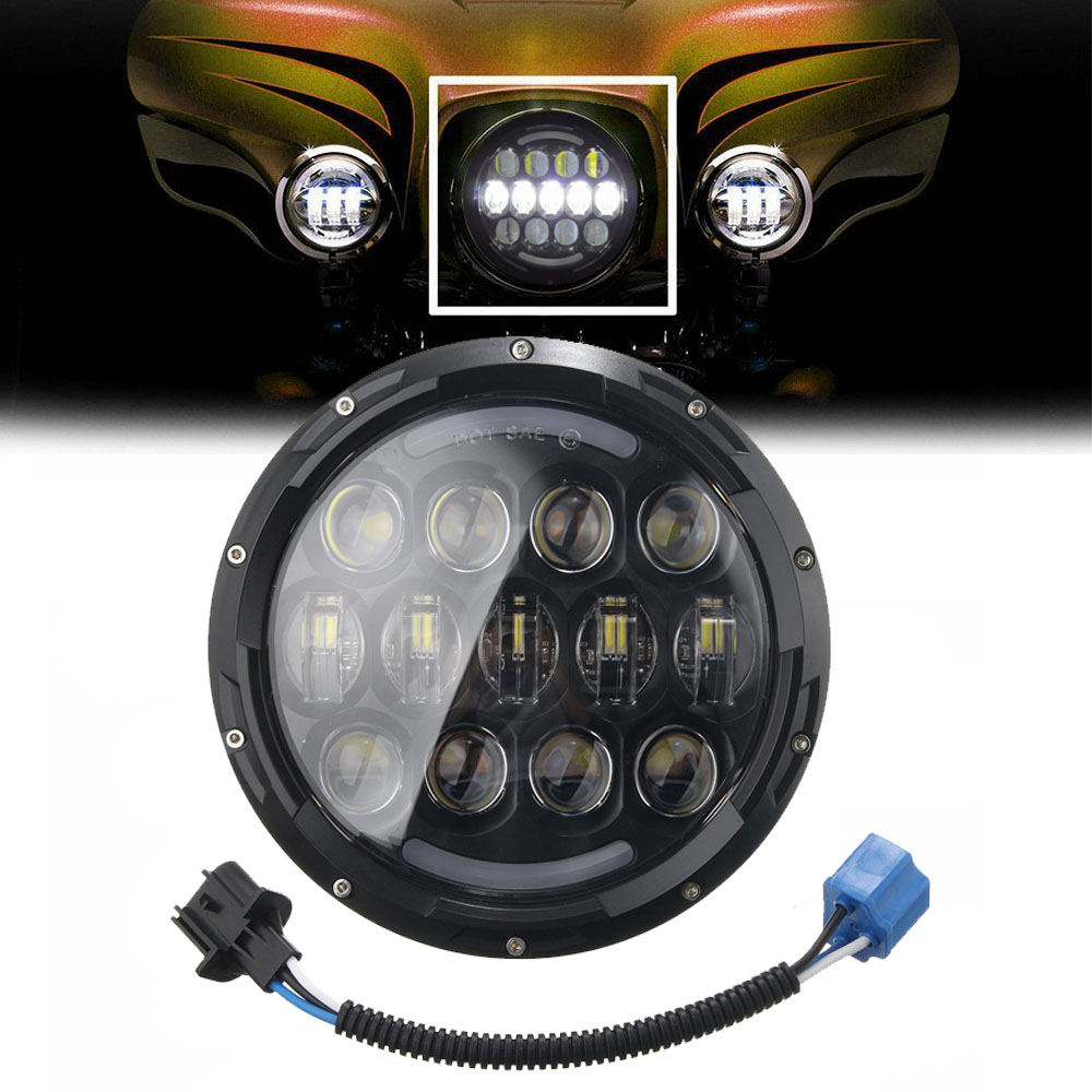 7 Inch 105W Motorcycle LED Headlight Hi Lo Beam DRL White amber Turn for Har ley