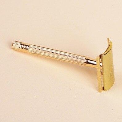Professional Carbon Steel Gold Razor + Blade +brush + Case Set Scheermes Kapper Houder Barber Razors Shaving Knife Razor Shaver