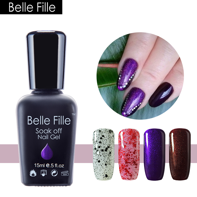 ᑐBELLE FILLE UV Gel Nail Polish Lilac Purple Color Coat UV Soak Off ...