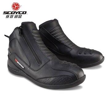 SCOYCO, botas de cuero para Moto de carreras, botas para Moto, botas para deportes de velocidad, botas profesionales para hombre, negro MBT002