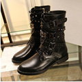 2016 shoes woman winter boots Women Rivets Brand Genuine Leather Motorcycle Boots Lace-Up Biker Buckle Strap  martin shoes Botas