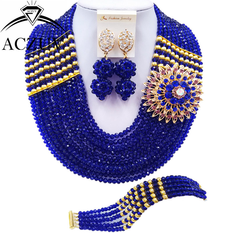 ACZUV 10 Rows Royal Blue African Beads Jewelry Set for Brides Bridesmaids Nigerian Wedding Bridal Jewelry Sets 10LBJZ002ACZUV 10 Rows Royal Blue African Beads Jewelry Set for Brides Bridesmaids Nigerian Wedding Bridal Jewelry Sets 10LBJZ002
