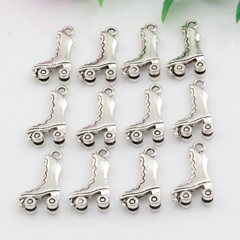100 Stücke Antike Silber Zink Legierung 3d Roller Skates Charms Anhänger 11,5x21mm Diy Schmuck A-068 NüTzlich FüR äTherisches Medulla