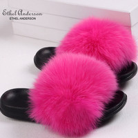 Ethel Anderson Real Plus Fox Hair Flip Flop Slippers Slides Women's Summer Fox Fur Sandals High Quality Casual Shoes