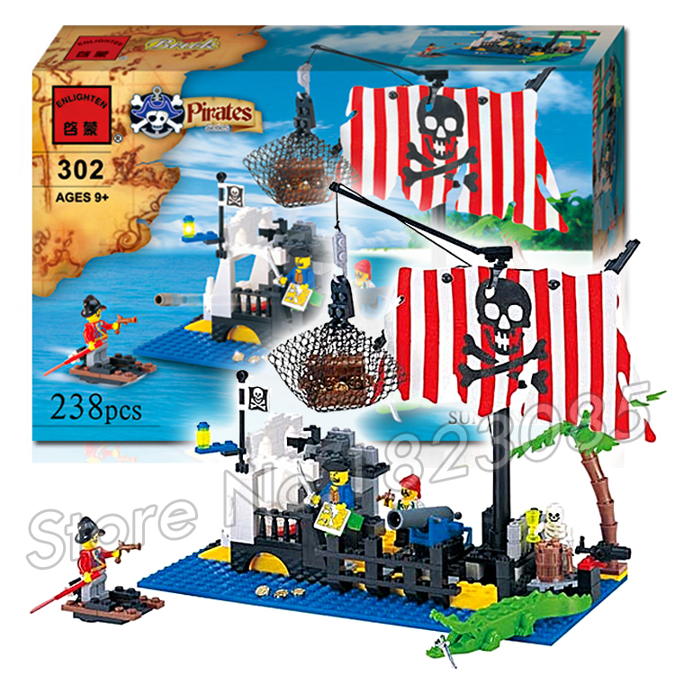 238pcs Pirate Series Bricks Set Sunken Boat Command Center Ship Model Building Blocks Bricks boys kids toys Compatible With Lego lepin 22001 pirate ship imperial warships model building block briks toys gift 1717pcs compatible legoed 10210