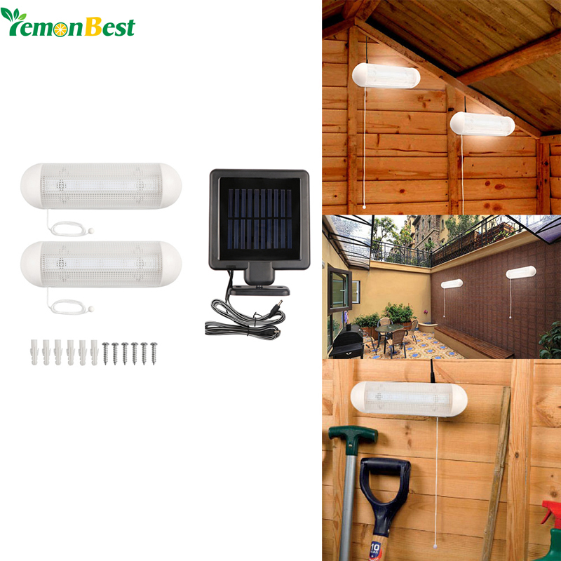 cheap LemonBest 1 to 2pcs Solar Garden Light 10W 5-LED Wall Lamp Cool White Rechargeable with Pull Cord Switch for Garage Courtyard pic,image LED lamps offers