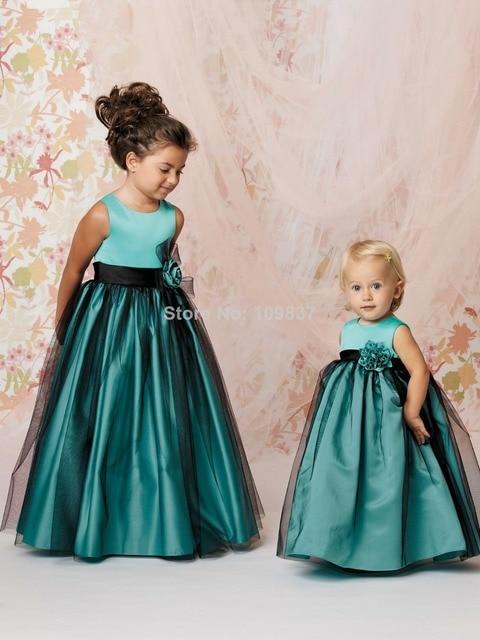 f5438ec8c Green Sleeveless Floor length Pretty Little Kids Organza Gown Black ...