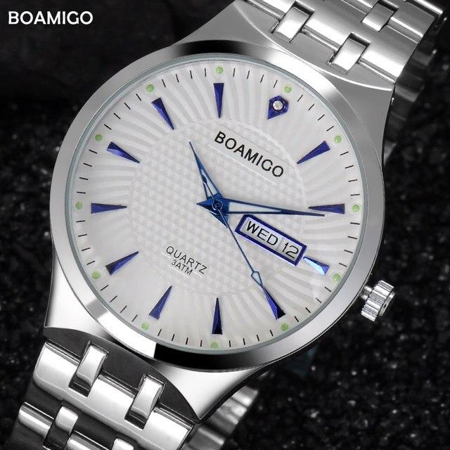 ผู้ชายนาฬิกาควอทซ์เหล็กปฏิทินธุรกิจนาฬิกา2017 boamigoยี่ห้อเงินของขวัญนาฬิกาข้อมือ30เมตรกันน้ำrelógio masculino