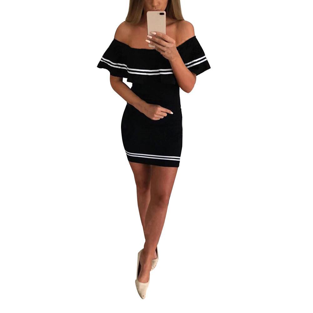 Women Summer Dress Sexy Fashionable Off Shoulder Falbala Bodycon Butterfly Sleeve Short Dress Female Vestido