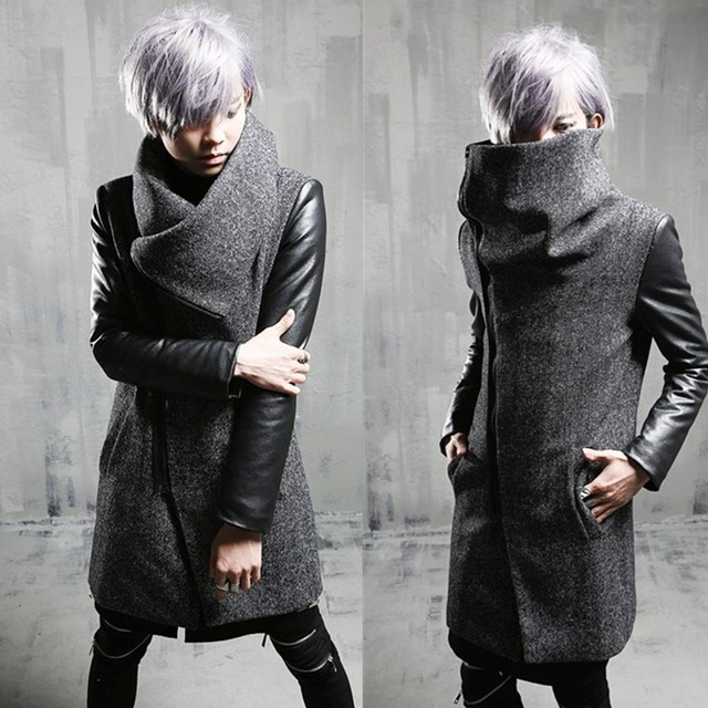 2017 autumn and winter outerwear male thermal fashion personality slim woolen patchwork M-XL