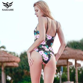 NAKIAEOI One Piece Swimsuit 2018 Sexy Swimwear Women Bodysuit Bathing Suit Vintage Beach Wear Print Bandage Monokini Swimsuit XL 4