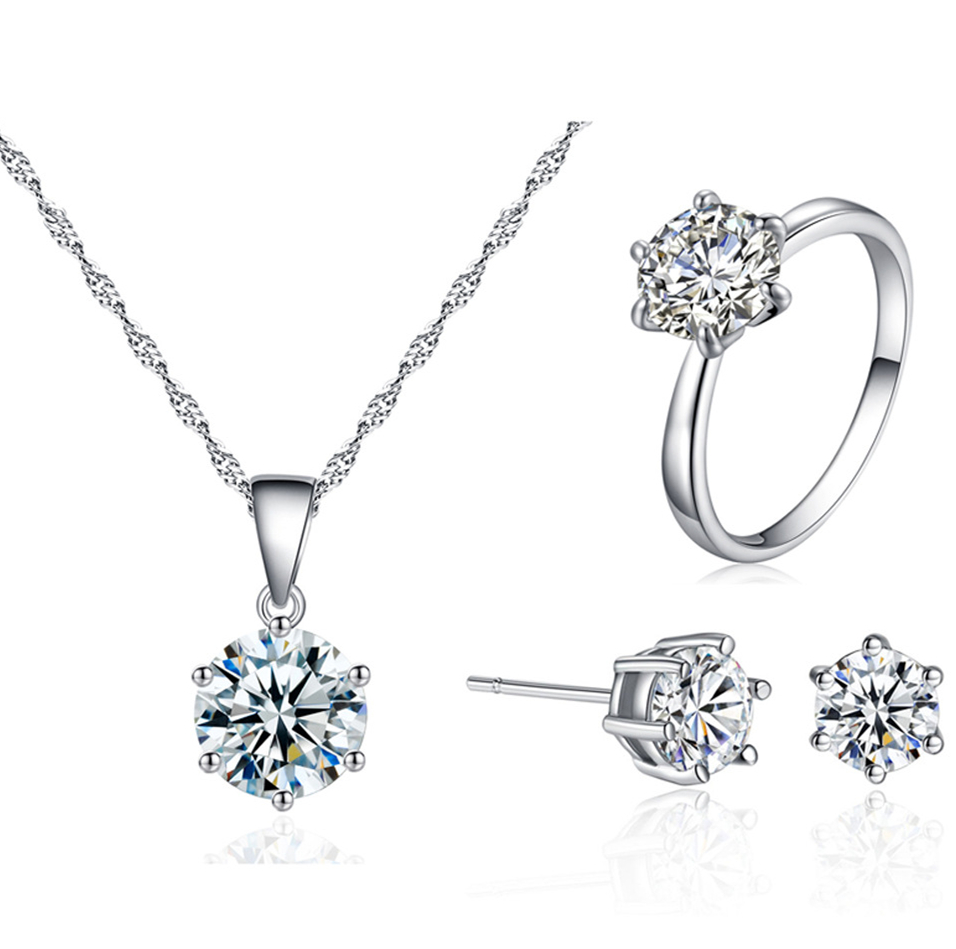 Silver 925 Jewelry Set for Women Cubic Zirconia Pendant Necklace Ring Earrings Sterling Silver Custom Jewellery Bijoux Gifts