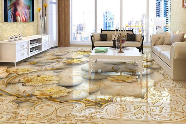 European Classical 3d Floor Painting Marble Pattern Wall Papers Home