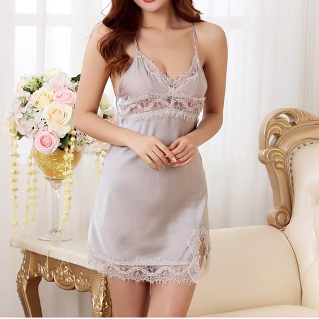 Sexy Women Ladies Lace Satin Sleepwear Night Dress Camisole Lingerie Silk  Nightgowns Nightwear Camisones chemise de nuit femme c0ae70559