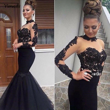 High Neck Tulle Long Evening Gown Lace Applique Mermaid Formal Sleeve Prom Party Dresses