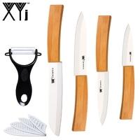 XYj High Grade Kitchen Knives Sharp Peeler Bamboo Handle 3 4 5 Ceramic Knife 6 Serrated