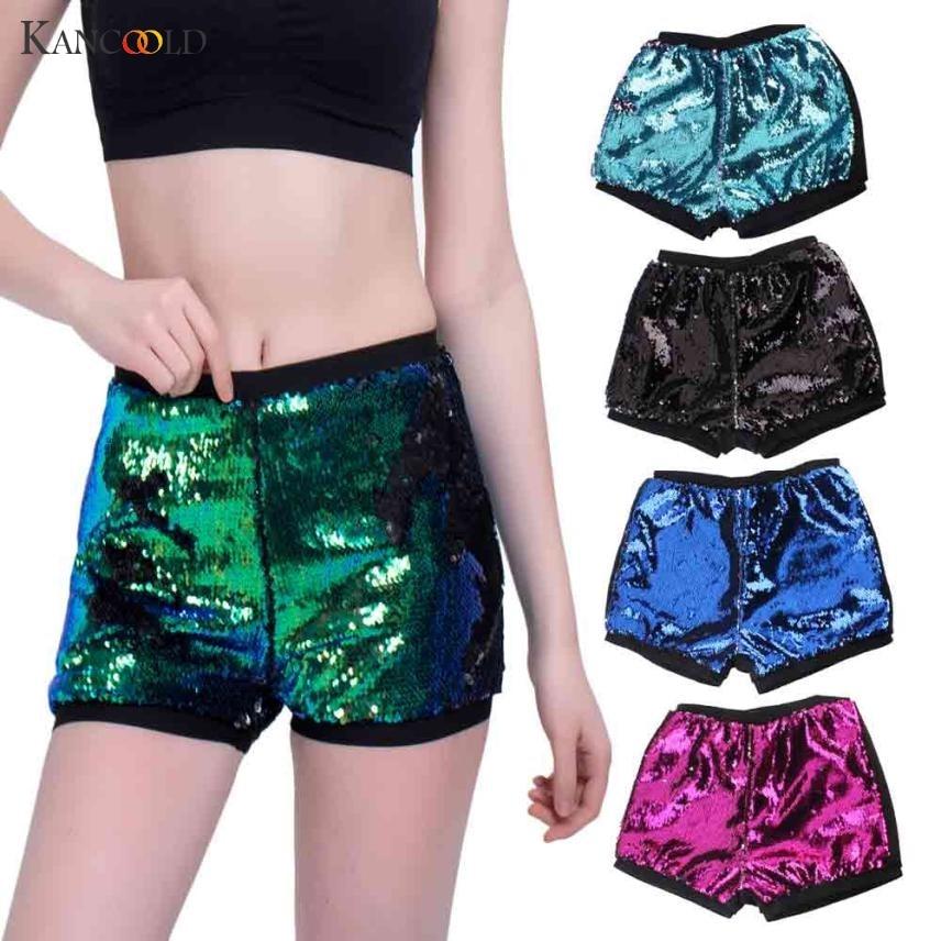 2017 Newly Summer Fashion Boho Elastic Shorts Women Mermaid Fishscale Sequin Sportwear Mini Short Pants Female Feminino MA243