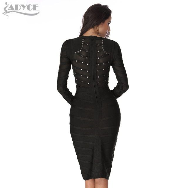 Celebrity party Dress Long sleeve Olive Mesh Black Gray Red Knee-length Bodycon Dresses 2