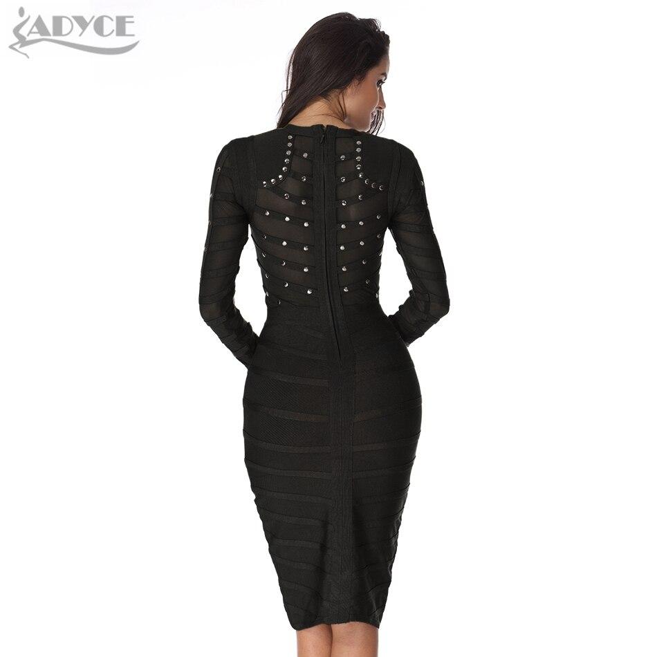 Black bandage dress long sleeve