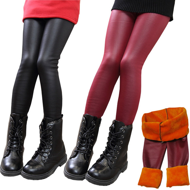 a6e0364f3ec8cd Teenager Girls PU Leather Leggings Winter Kids Thick Velvet Leggings Girl  Pencil Pants Children Warm Trousers Slim Pant 2T-12
