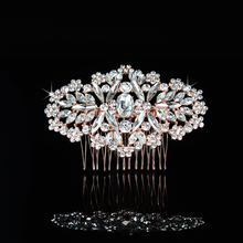 2017 New Arrival Hot Selling Rose Gold Rhinestones Crystals Flower Leaf Wedding Hair Comb Bridal Hair