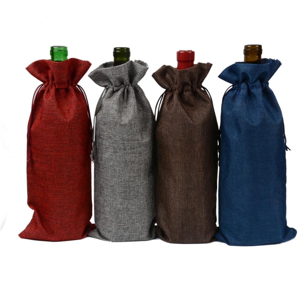 Vintage Jute Burlap Wine Bottle Covers Bag Hessian Drawstring Wine Champagne Blind Gift Holder for Christmas Wedding Party Favor