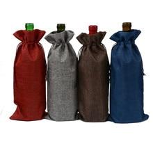 Jute Burlap Drawstring Champagne Wine Blind Covers Hessian Bottle Holder Gift Packaging Bags for Christmas Wedding Party